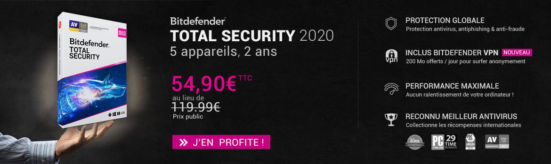 Bitdefender Total security 2020 5 appareils 2 ans à 54.90€
