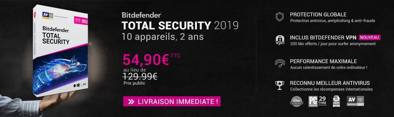Bitdefender Total security 2019 10 appareils 2 ans à 54.90€