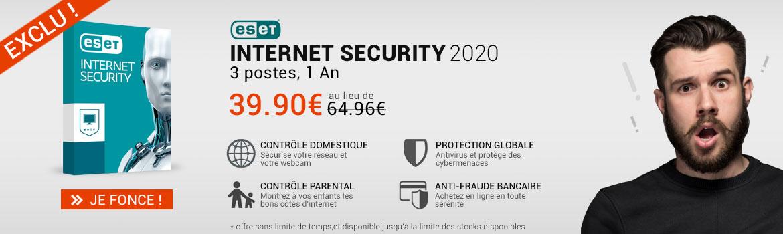 Eset Internet security 3 poste au prix de 1 poste